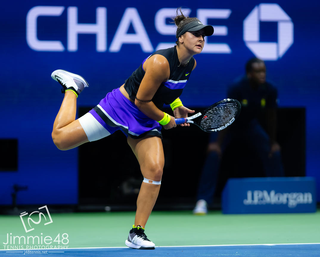Bianca Andreescu of Canada in action during her quarter-final match at the 2019 US Open Grand Slam tennis tournament