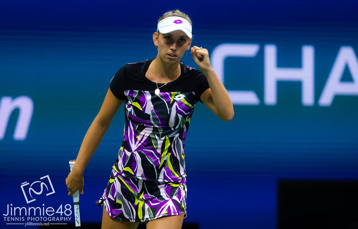 Elise Mertens of Belgium in action during her quarter-final match at the 2019 US Open Grand Slam tennis tournament