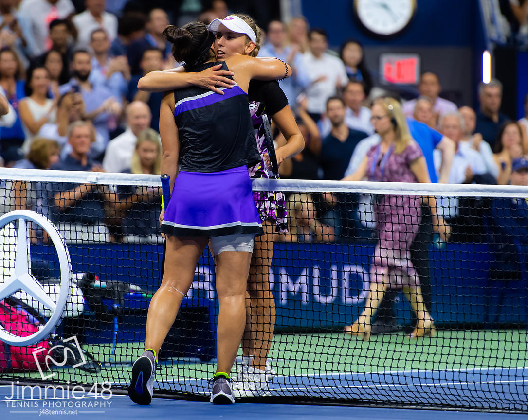 Bianca Andreescu of Canada & Elise Mertens of Belgium at the net after their quarter-final match at the 2019 US Open Grand Slam tennis tournament