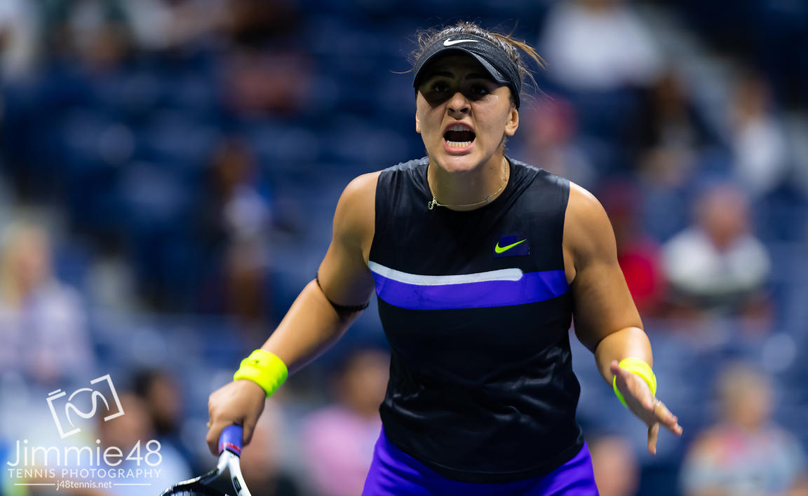 Bianca Andreescu of Canada in action during her fourth-round match at the 2019 US Open Grand Slam tennis tournament