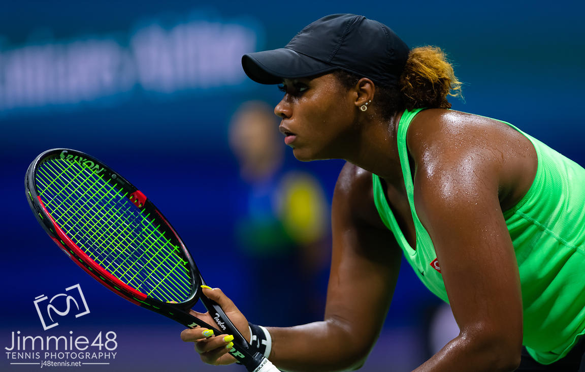 Taylor Townsend of the United States in action during her fourth-round match at the 2019 US Open Grand Slam tennis tournament