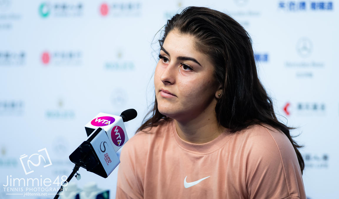 Bianca Andreescu of Canada talks to the media after winning her first-round match at the 2019 China Open Premier Mandatory tennis tournament