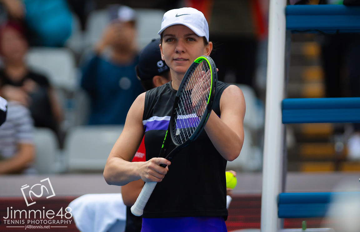 Simona Halep of Romania in action during her first-round match at the 2019 China Open Premier Mandatory tennis tournament