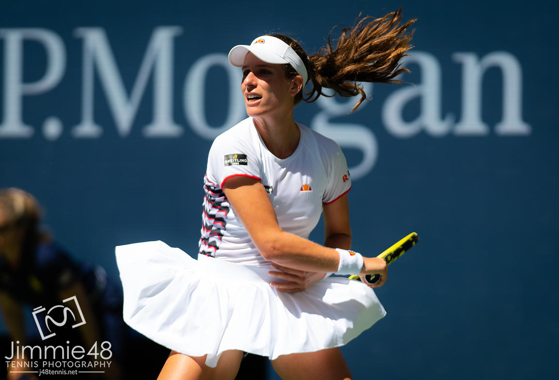 Johanna Konta of Great Britain in action during her quarter-final match at the 2019 US Open Grand Slam tennis tournament