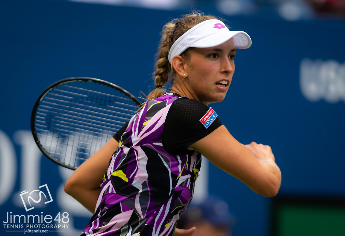 Elise Mertens of Belgium in action during her fourth-round match at the 2019 US Open Grand Slam tennis tournament