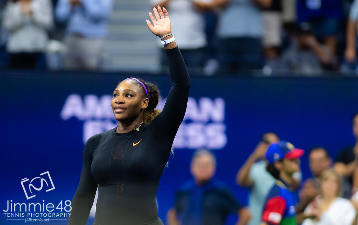 Serena Williams of the United States after winning her quarter-final match at the 2019 US Open Grand Slam tennis tournament