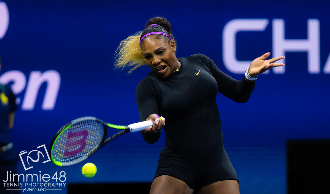 Serena Williams of the United States in action during her quarter-final match at the 2019 US Open Grand Slam tennis tournament