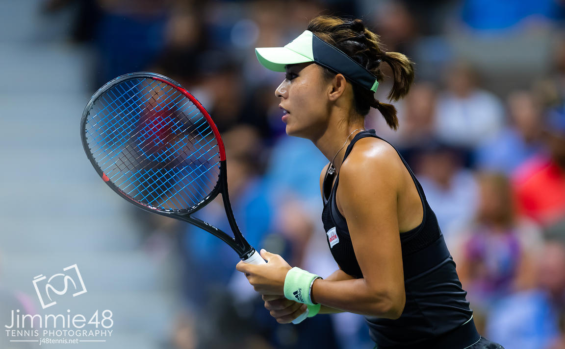 Qiang Wang of China in action during her quarter-final match at the 2019 US Open Grand Slam tennis tournament