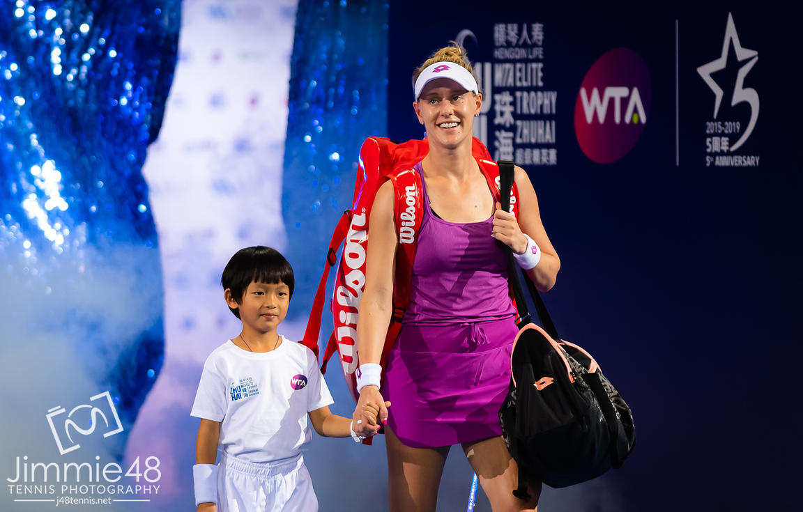 Alison Riske of the United States on the way onto the court for her RR2 match at the 2019 WTA Elite Trophy tennis tournament