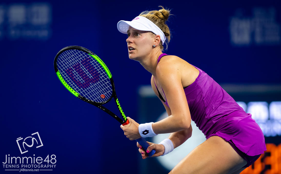 Alison Riske of the United States in action during her RR2 match at the 2019 WTA Elite Trophy tennis tournament