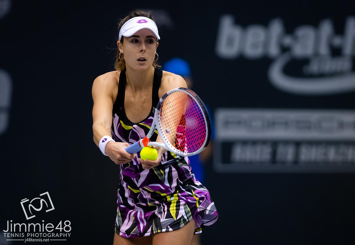 Alize Cornet of France in action during the first round of the 2019 Upper Austria Ladies Linz WTA International tennis tournament