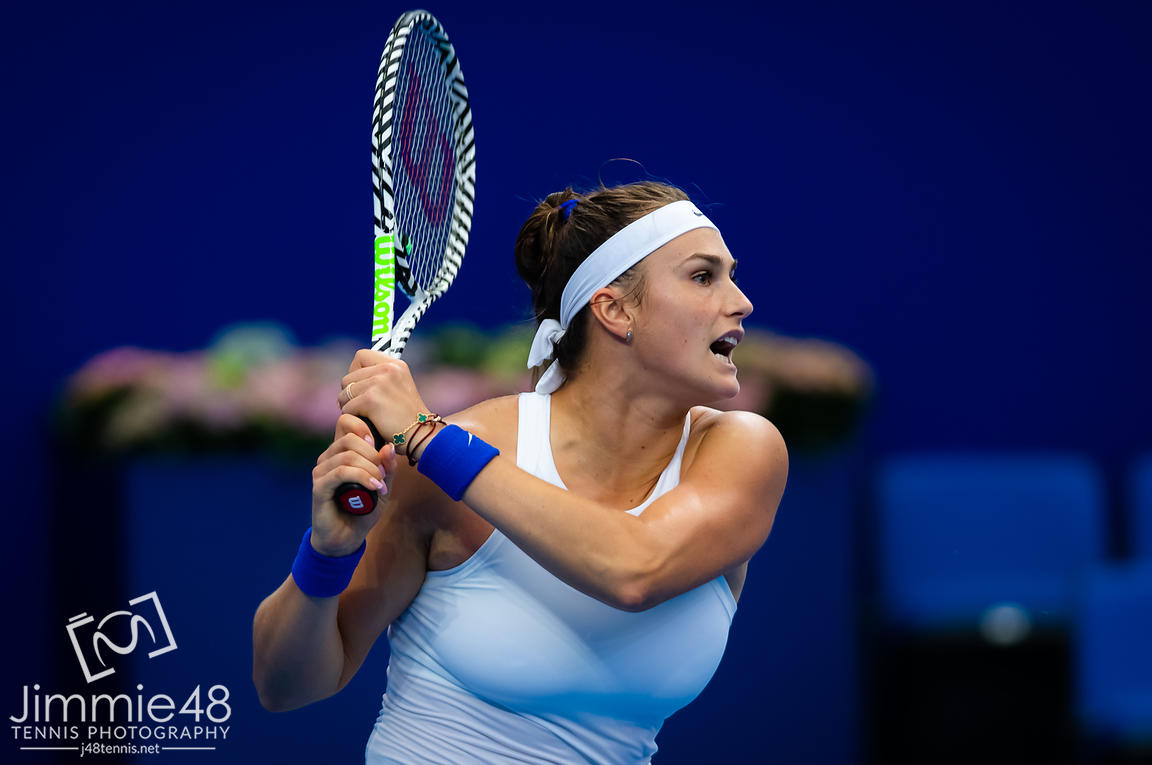 Aryna Sabalenka of Belarus in action during her RR1 match at the 2019 WTA Elite Trophy tennis tournament