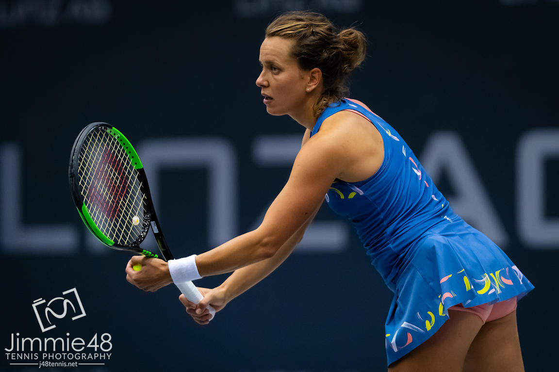 Barbora Strycova of the Czech Republic in action during the first round of the 2019 Upper Austria Ladies Linz WTA International tennis tournament