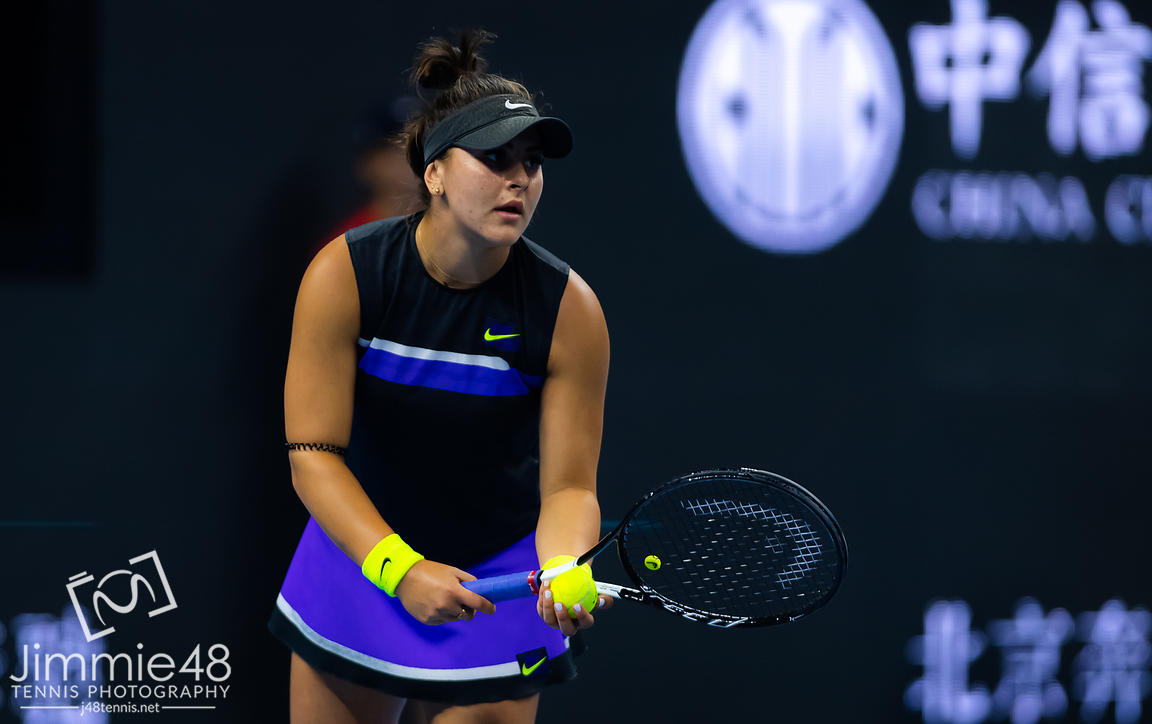 Bianca Andreescu of Canada in action during her third-round match at the 2019 China Open Premier Mandatory tennis tournament