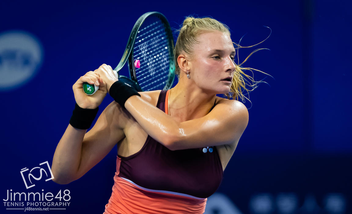 Dayana Yastremska of Ukraine in action during her RR2 match at the 2019 WTA Elite Trophy tennis tournament