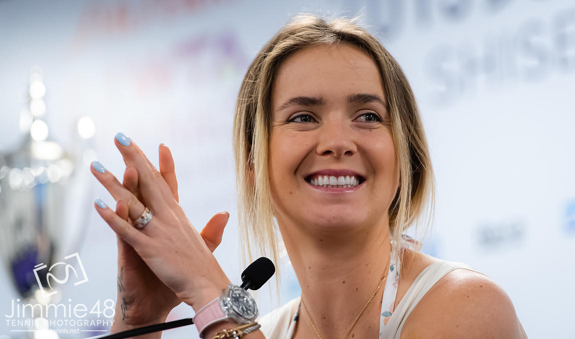Elina Svitolina of the Ukraine talks to the media during All Access Hour ahead of the 2019 WTA Finals tennis tournament