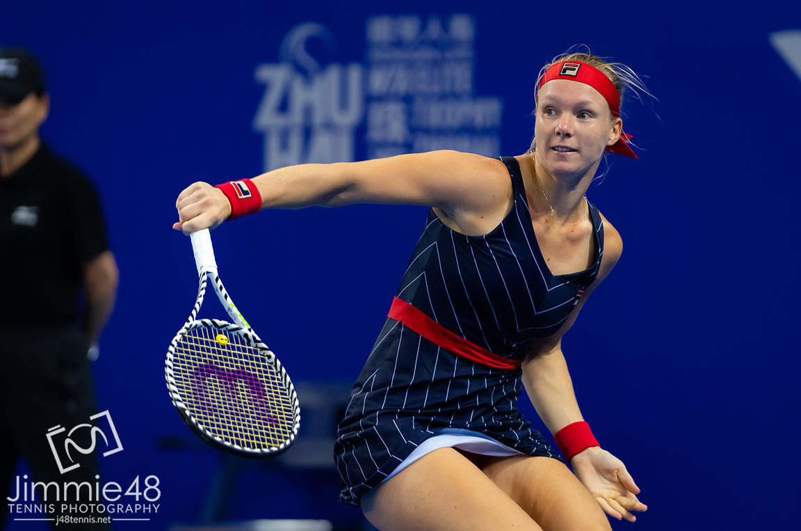 Kiki Bertens of the Netherlands in action during her RR1 match at the 2019 WTA Elite Trophy tennis tournament
