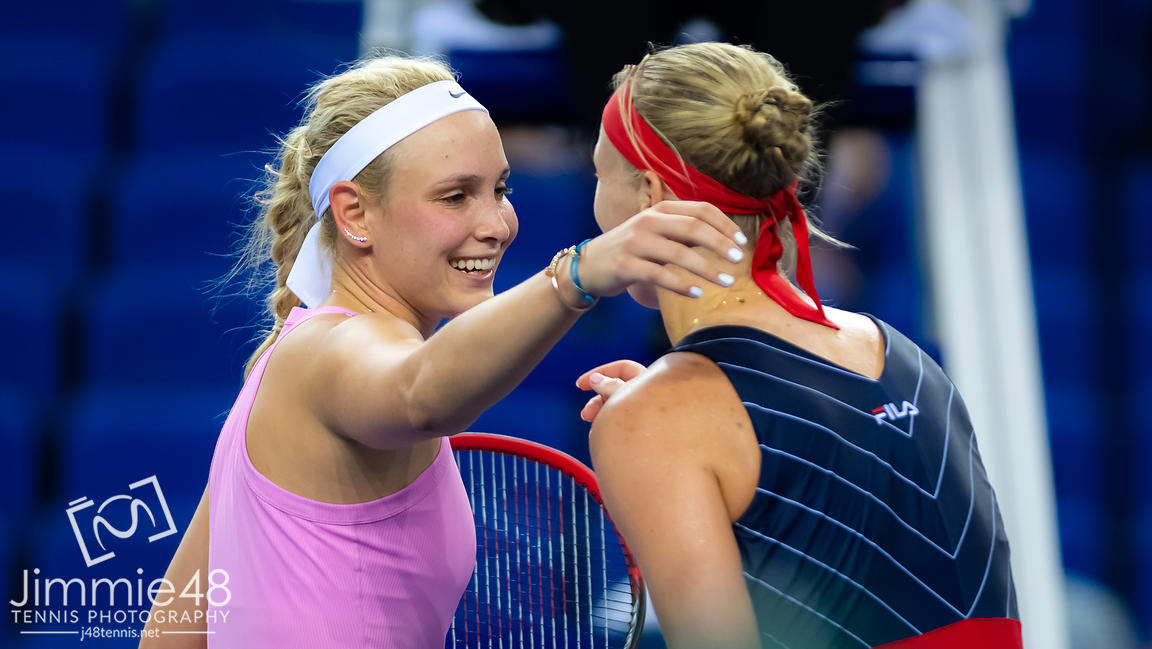 Donna Vekic of Croatia & Kiki Bertens of the Netherlands at the net after their RR1 match at the 2019 WTA Elite Trophy tennis tournament