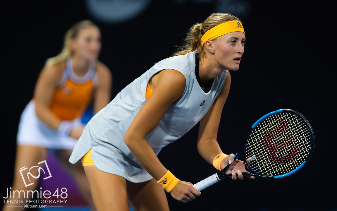Kristina Mladenovic of France playing doubles at the 2019 China Open Premier Mandatory tennis tournament