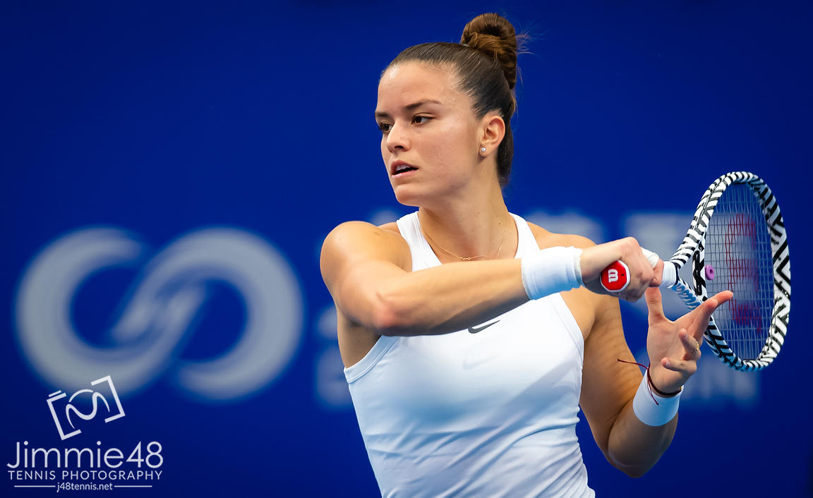 Maria Sakkari of Greece in action during her RR1 match at the 2019 WTA Elite Trophy tennis tournament