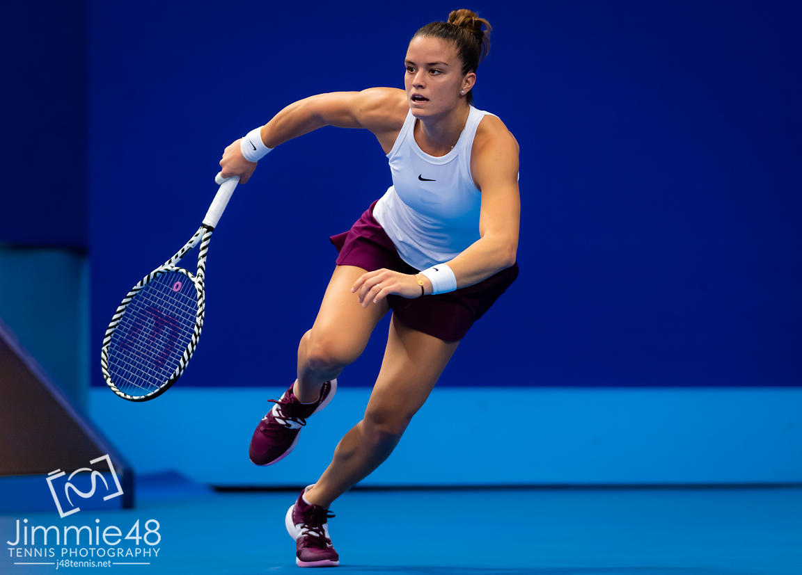 Maria Sakkari of Greece in action during her RR2 match at the 2019 WTA Elite Trophy tennis tournament
