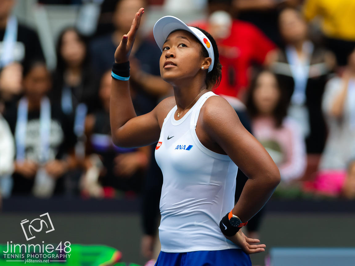 Naomi Osaka of Japan after winning her third-round match at the 2019 China Open Premier Mandatory tennis tournament