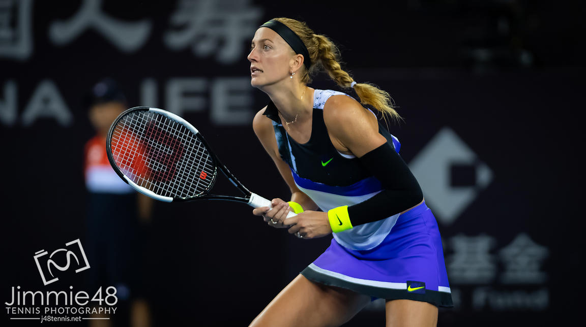 Petra Kvitova of the Czech Republic in action during her third-round match at the 2019 China Open Premier Mandatory tennis tournament