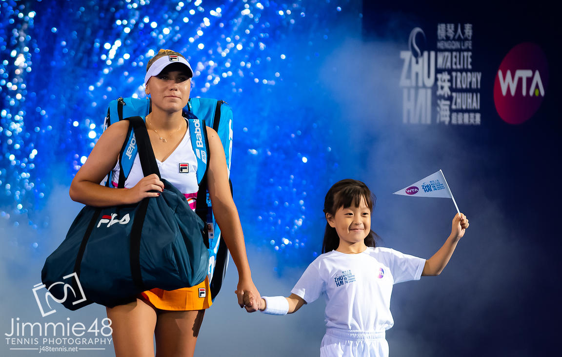 Sofia Kenin of the United States on the way onto the court for her RR2 match at the 2019 WTA Elite Trophy tennis tournament
