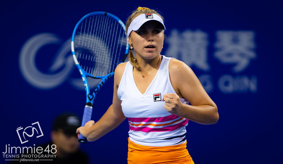 Sofia Kenin of the United States in action during her RR2 match at the 2019 WTA Elite Trophy tennis tournament