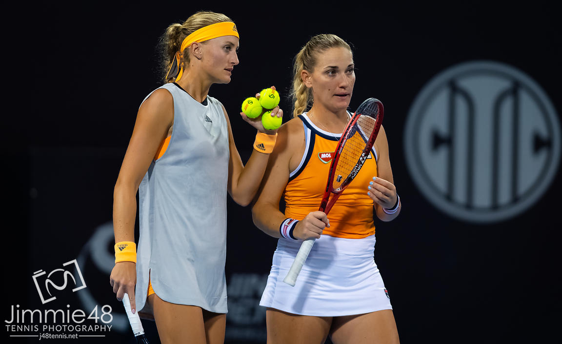 Timea Babos of Hungary & Kristina Mladenovic of France playing doubles at the 2019 China Open Premier Mandatory tennis tournament