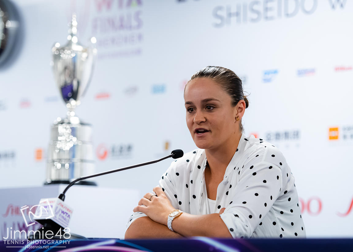Ashleigh Barty of Australia talks to the media during All Access Hour ahead of the 2019 WTA Finals tennis tournament