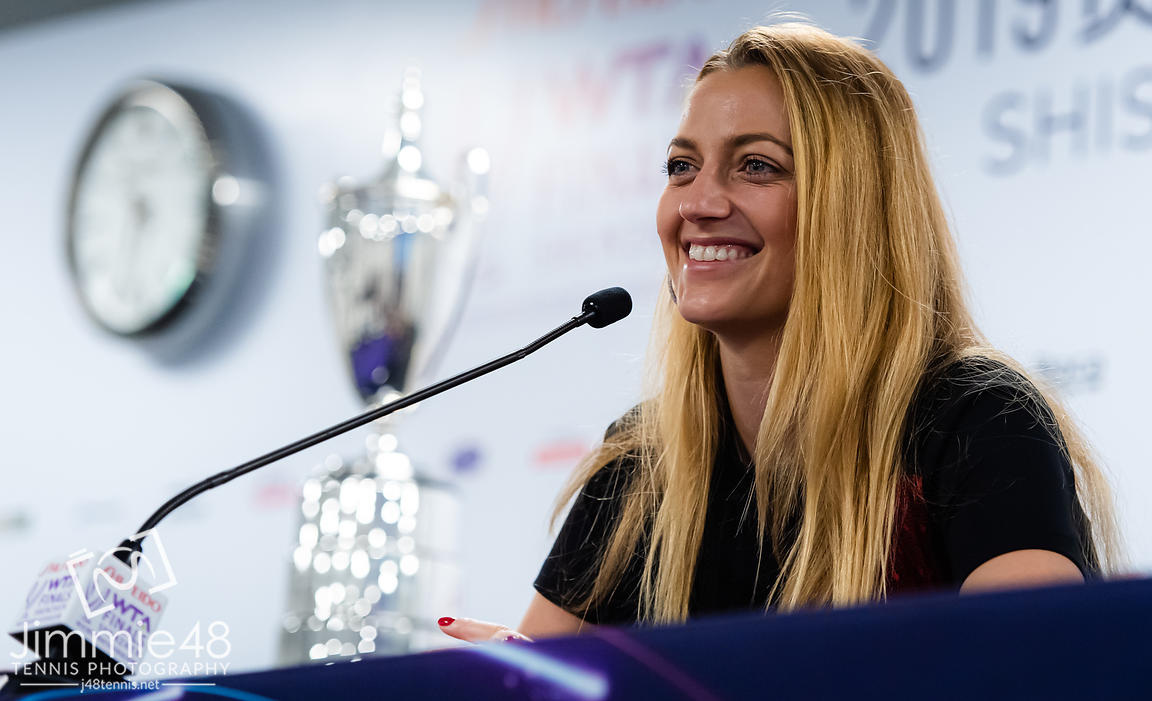 Petra Kvitova of the Czech Republic talks to the media during All Access Hour ahead of the 2019 WTA Finals tennis tournament