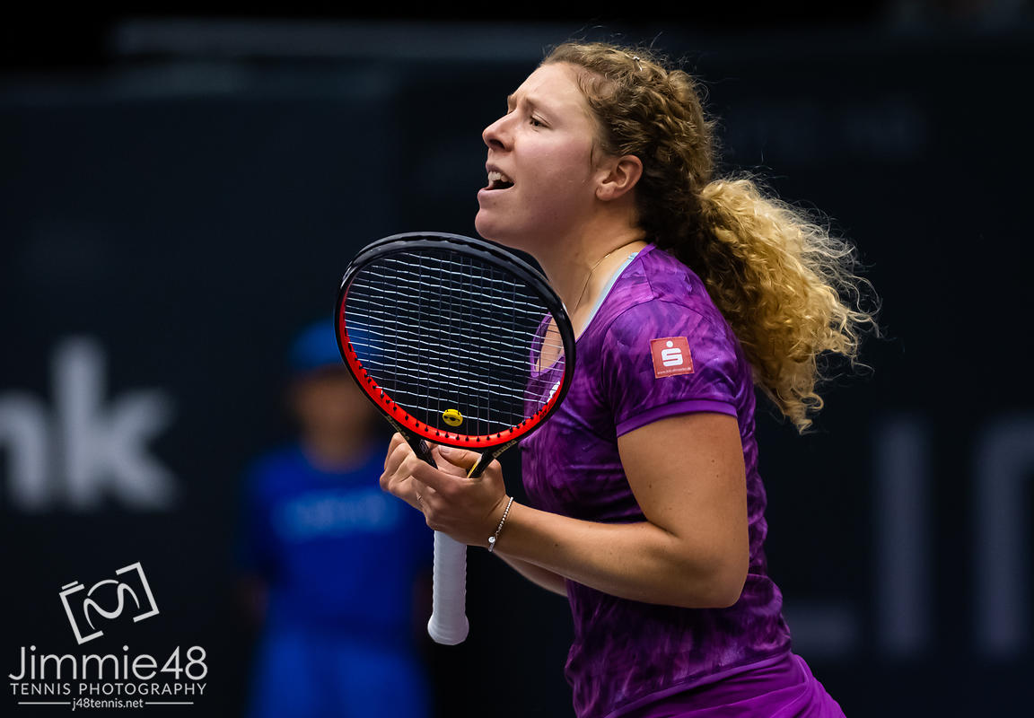 Anna-Lena Friedsam of Germany in action during her first-round match at the 2019 Upper Austria Ladies Linz WTA International tennis tournament