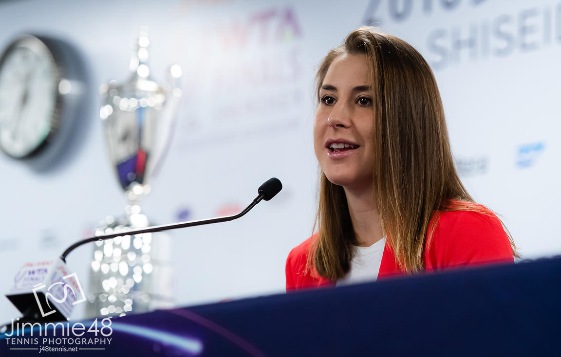 Belinda Bencic of Switzerland talks to the media during All Access Hour ahead of the 2019 WTA Finals tennis tournament