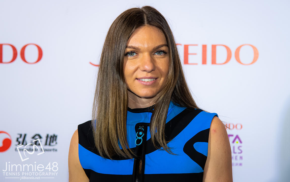 Simona Halep of Romania on the red carpet before the draw gala of the 2019 WTA Finals tennis tournament