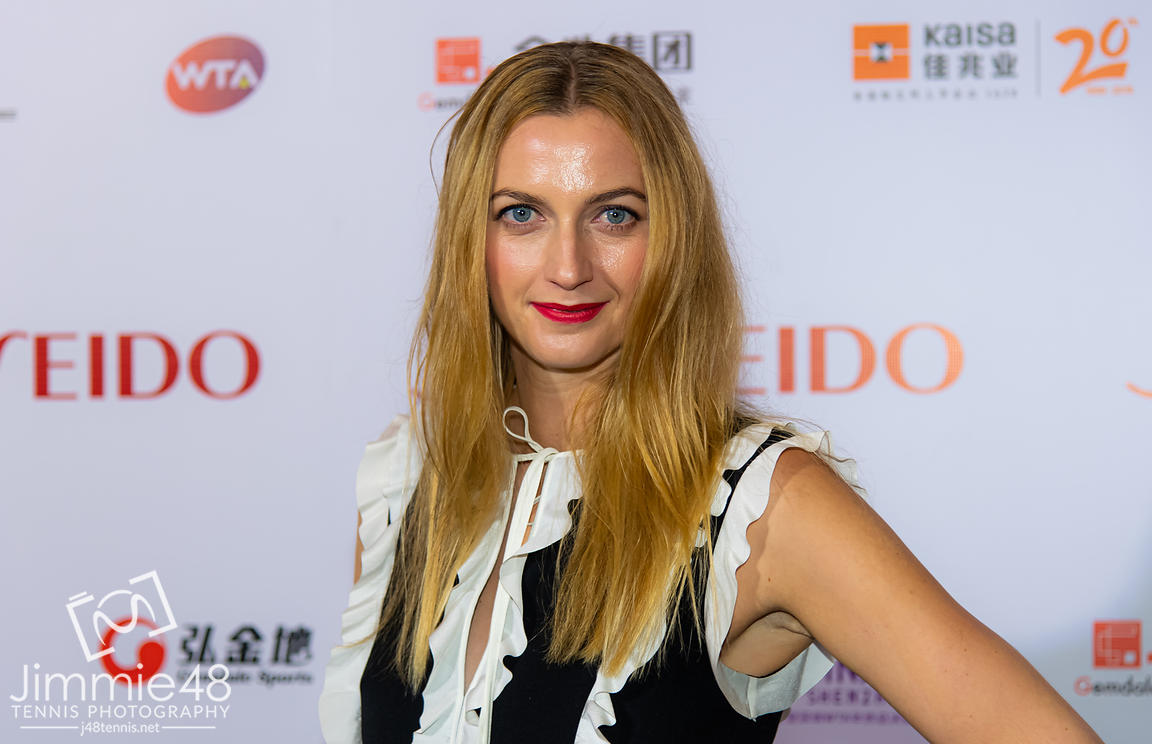 Petra Kvitova of the Czech Republic on the red carpet before the draw gala of the 2019 WTA Finals tennis tournament