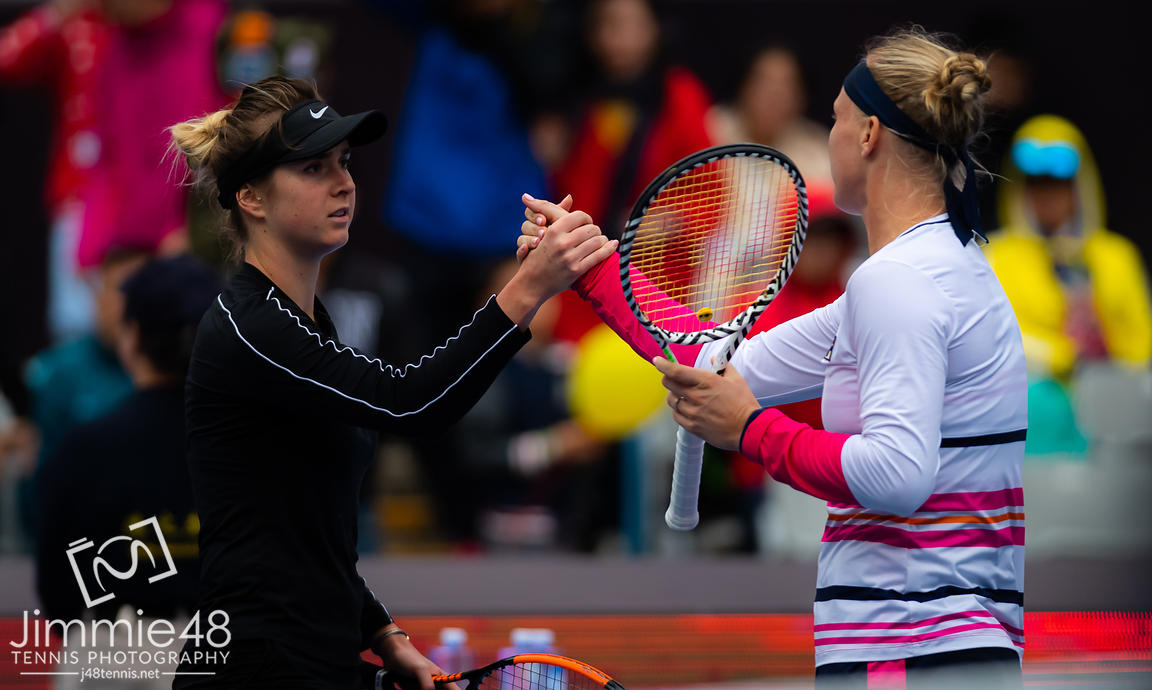 Elina Svitolina of the Ukraine & Kiki Bertens of the Netherlands after their quarter-final match at the 2019 China Open Premier Mandatory tennis tournament