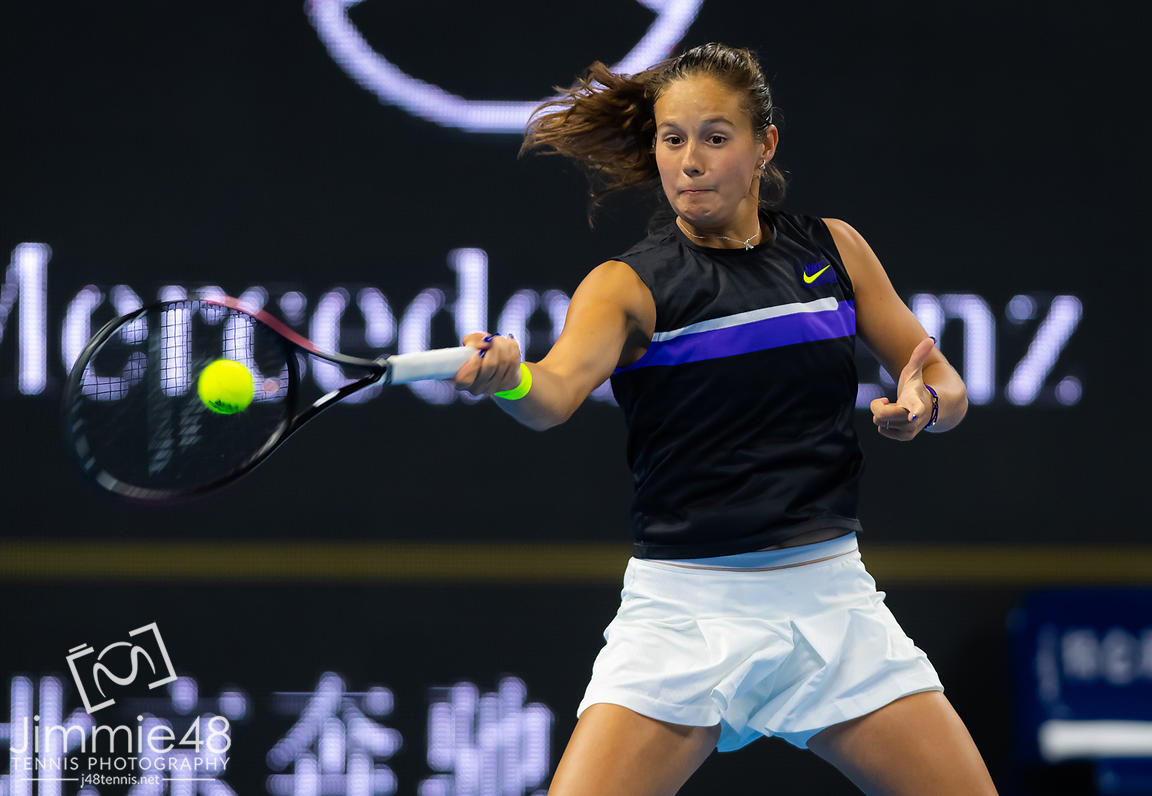 Daria Kasatkina of Russia in action during her quarter-final match at the 2019 China Open Premier Mandatory tennis tournament