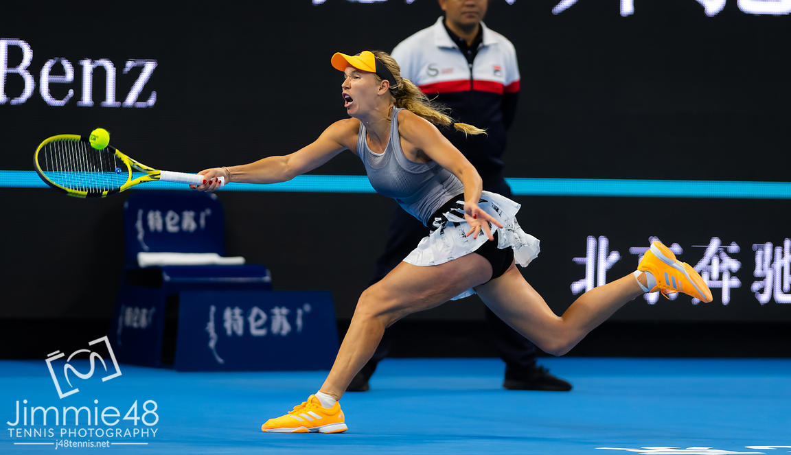Caroline Wozniacki of Denmark in action during her quarter-final match at the 2019 China Open Premier Mandatory tennis tournament