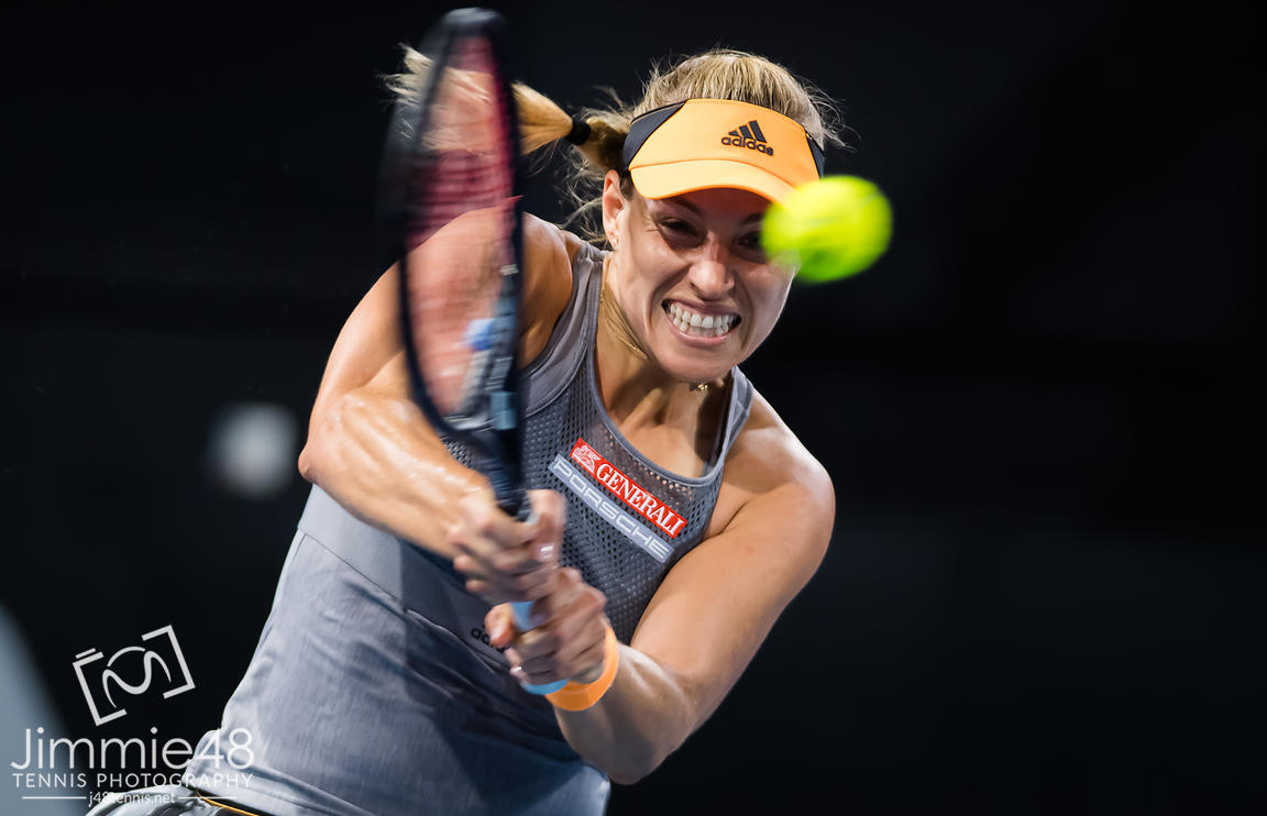 Angelique Kerber of Germany in action during the first round of the 2020 Adelaide International WTA Premier tennis tournament