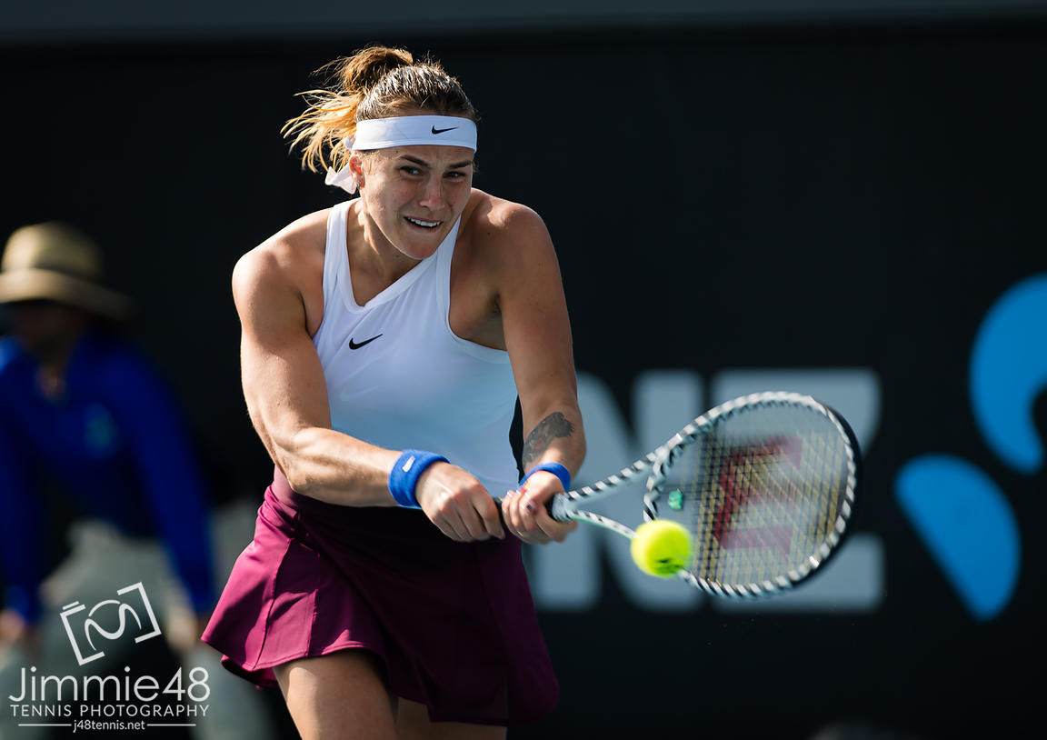 Aryna Sabalenka of Belarus in action during the first round at the 2020 Adelaide International WTA Premier tennis tournament