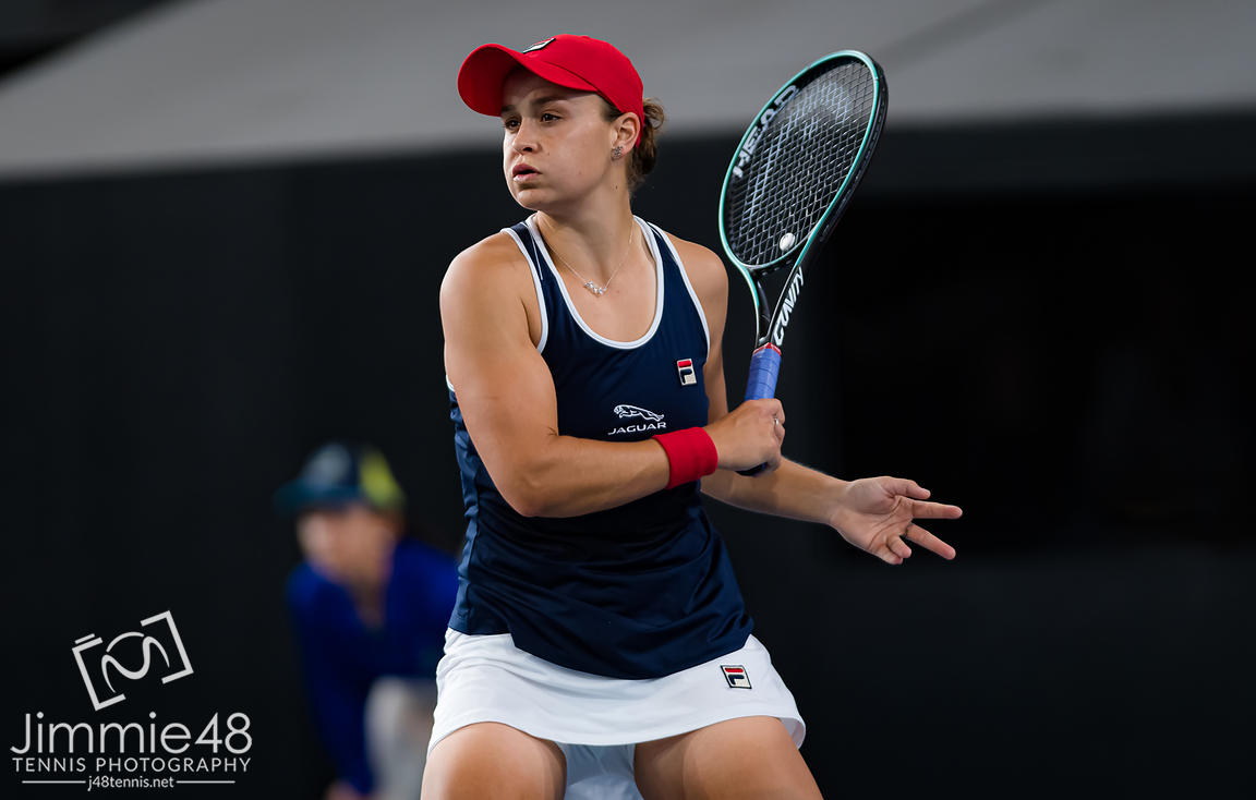 Ashleigh Barty of Australia in action during her quarter-final match at the 2020 Adelaide International WTA Premier tennis tournament