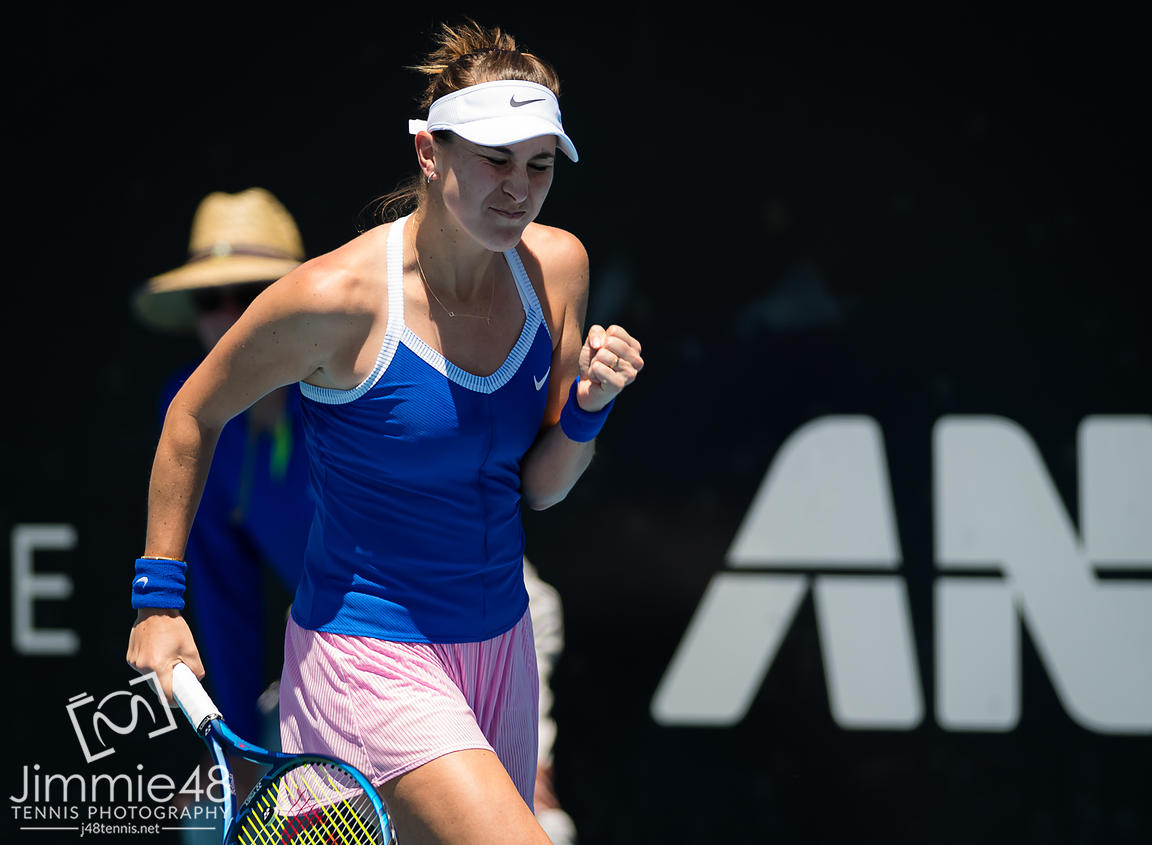 Belinda Bencic of Switzerland in action during the first round at the 2020 Adelaide International WTA Premier tennis tournament