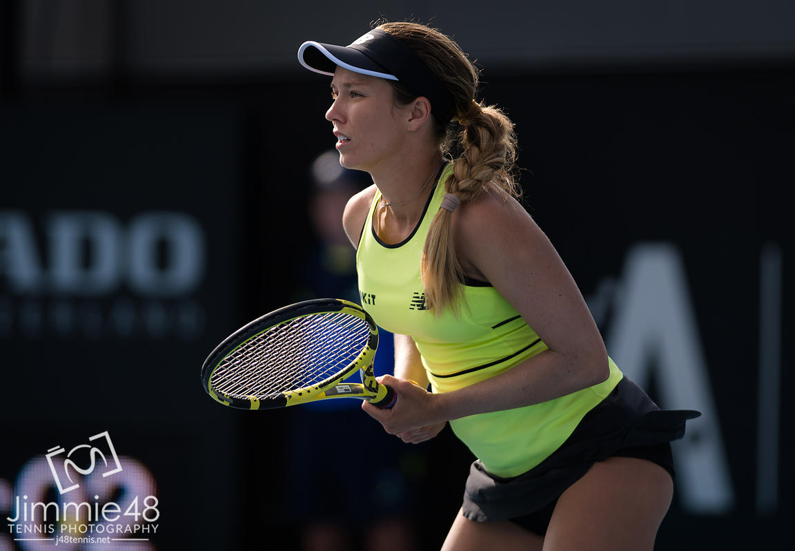 Danielle Collins of the United States in action during her quarter-final match at the 2020 Adelaide International WTA Premier tennis tournament