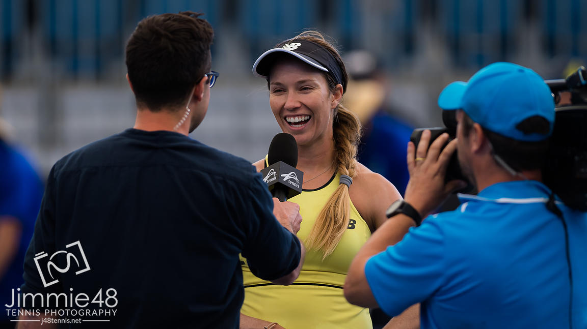 Danielle Collins of the United States celebrates winning her second-round match at the 2020 Adelaide International WTA Premier tennis tournament