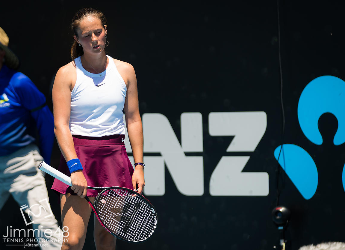 Daria Kasatkina of Russia in action during the first round at the 2020 Adelaide International WTA Premier tennis tournament