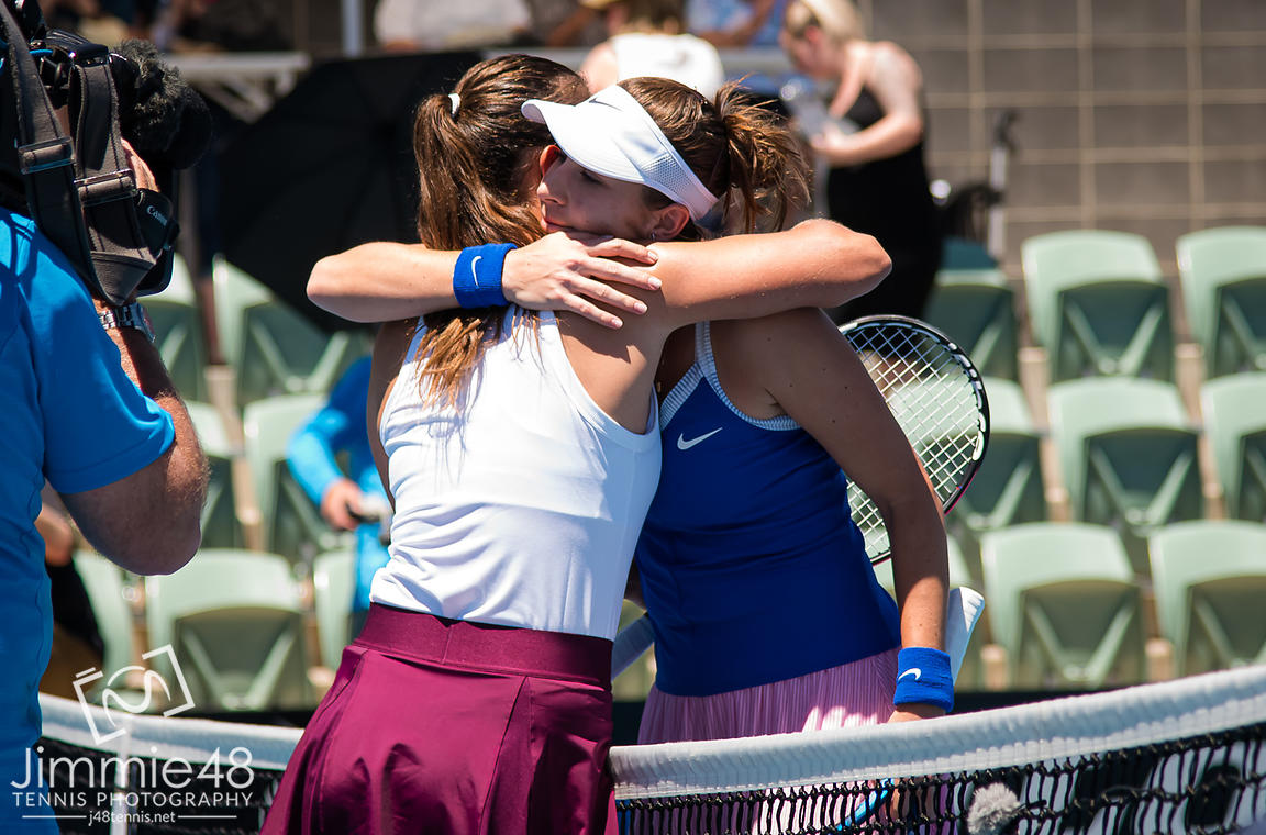 Daria Kasatkina of Russia & Belinda Bencic of Switzerland at the net after their first-round match at the 2020 Adelaide International WTA Premier tennis tournament