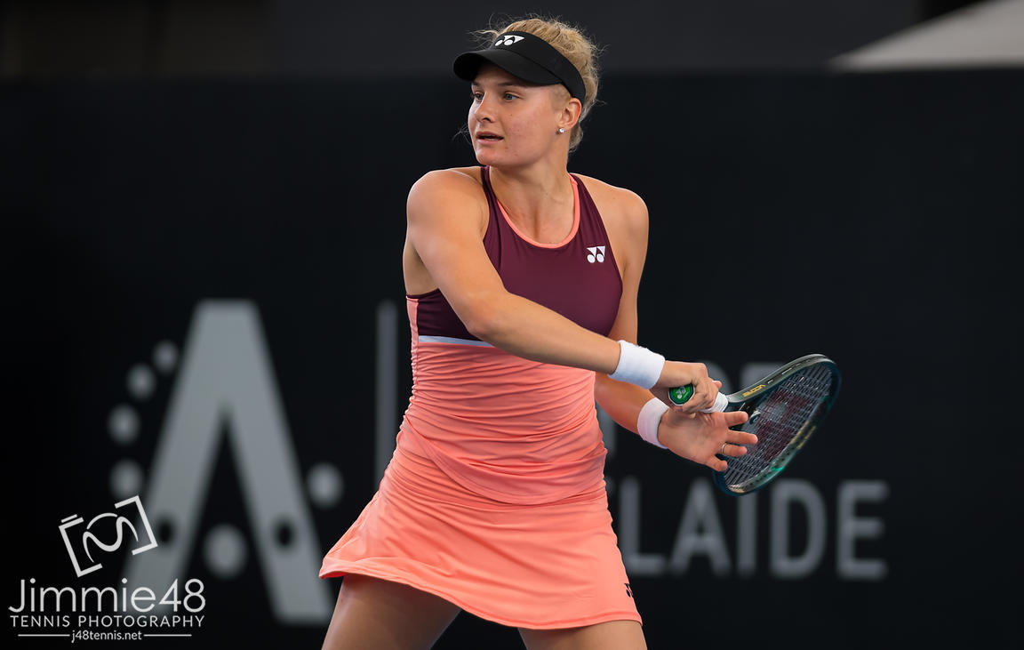 IDayana Yastremska of the Ukraine in action during the quarter-final at the 2020 Adelaide International WTA Premier tennis tournament