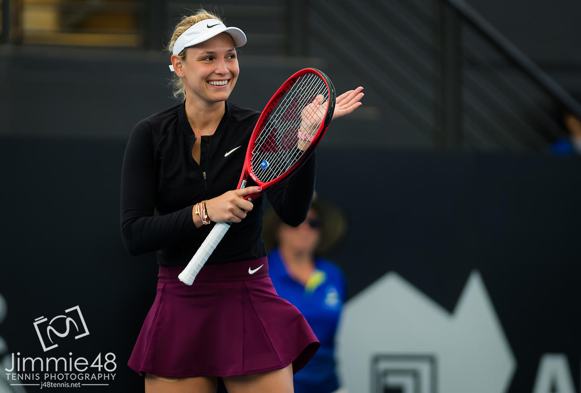 Donna Vekic of Croatia in action during the quarter-finals at the 2020 Adelaide International WTA Premier tennis tournament