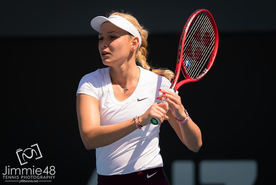 Donna Vekic of Croatia in action during her second round match at the 2020 Adelaide International WTA Premier tennis tournament